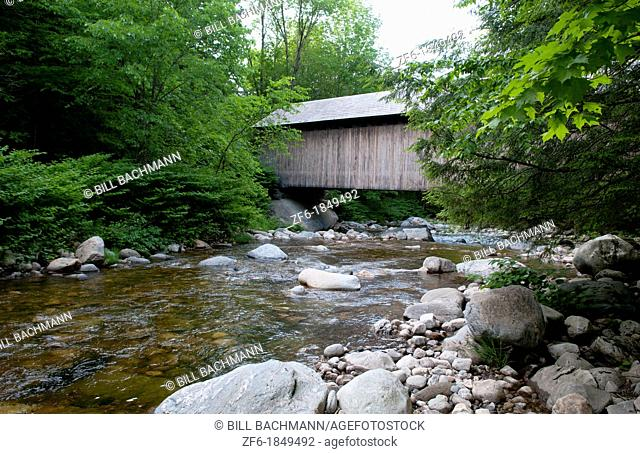 Covered Bridges of Vermont by river with rocks Brown Bridge in Shrewsbury VT 1880