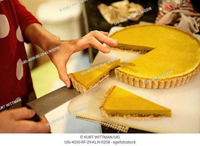 chef cutting gluten free pie dessert