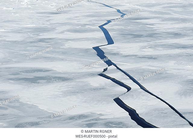 Antarctic Peninsula, Antarctica, Weddell Sea, Cracks in pack ice