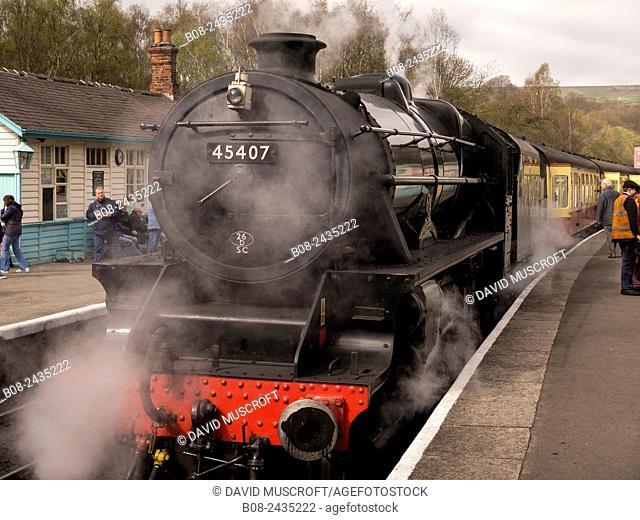 vintage steam loco Lancashire Fuslier at Grosmont station,on The North Yorkshire Moors Railway,Yorkshire,UK