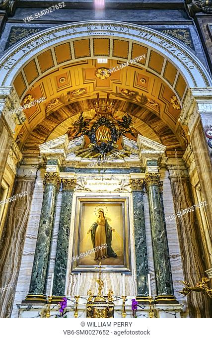 Virgin Mary Assumption Painting Basilica Altar Santa Maria dei Miracoli Church at Piazza Popolo RAltar ome Italy. Built in the 1600s