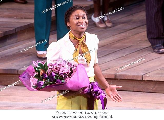 Opening night for The Color Purple at the Bernard B. Jacobs Theatre - Curtain Call. Featuring: Cynthia Erivo Where: New York City, New York