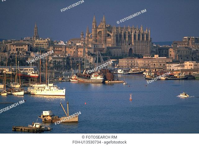 majorca, view, palma, cathedral, harbor, aerial