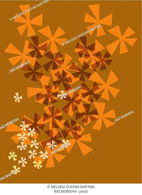 Orange flower burst pattern on a brown background