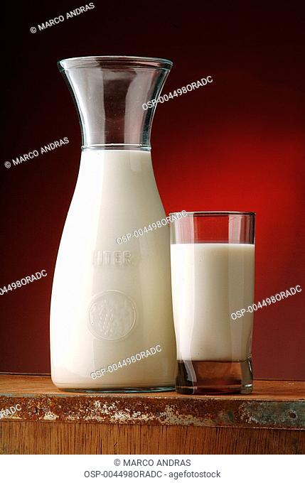 a bottle of milk and a glass of milk on the counter