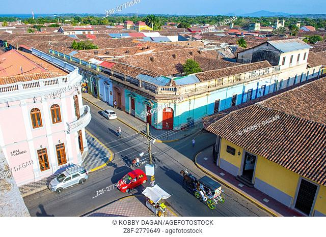 City view of Granada Nicaragua. Granada was founded in 1524 and it's the first European city in mainland America