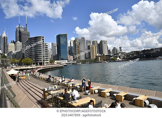 SYDNEY, NSW, AUSTRALIA, April 2019, Tourist at viewing deck along Sydney Opera House along Macquarie Station