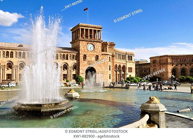 water fountain, Republic Square at downtown Yerevan, Jerewan, Armenia, Asia