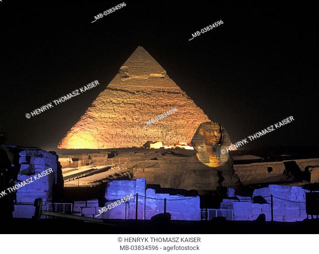 Egypt, Gizeh, pyramid, sphinx,  Illumination, evening,   Constructions, fable natures, around 2500 v.Ch., Representation, King Chephren, 20 m high, 73, 5 m long