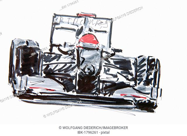 Formula One car, racing, drawing by Gerhard Kraus, Kriftel, Germany