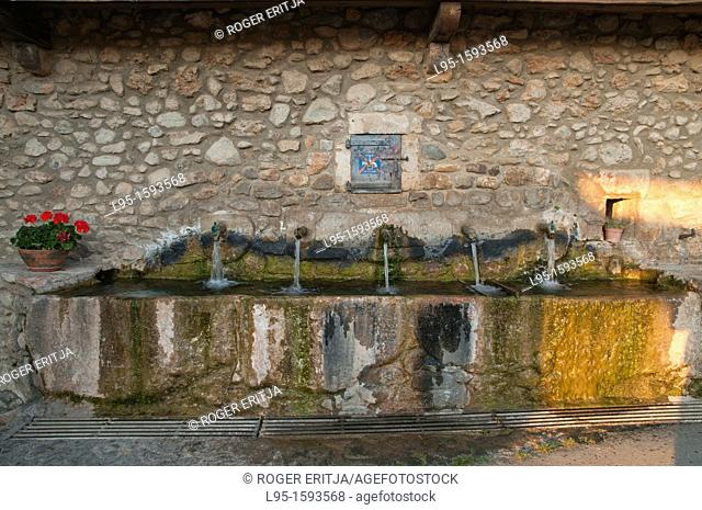 Public fountain from beginnings of the XXth century in a small village of the Cerdanya village in Pyrenees, Spain