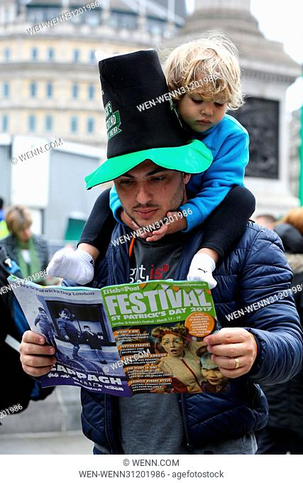 Hundreds of people attend the annual St Patrick's Day celebrations in Trafalgar Square, London Featuring: Atmosphere Where: London