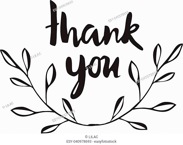 vector thank you card with olive