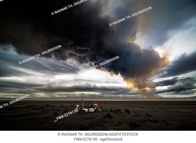 Scientific equipment-Volcanic Plumes with toxic gases, Holuhraun Fissure Eruption, Iceland