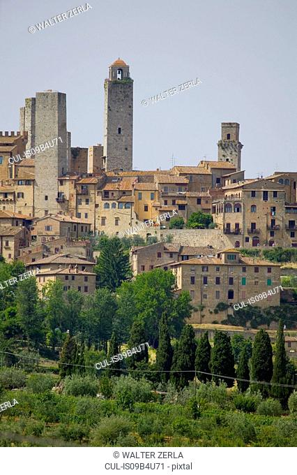 Hill town and tower skyline of San Gimignano, Siena, Tuscany, Italy