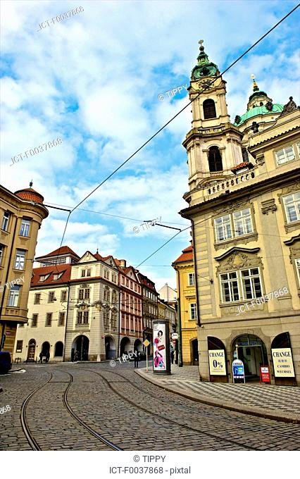 Czech Republic, Prague, Mala Strana, tracks of the tramway