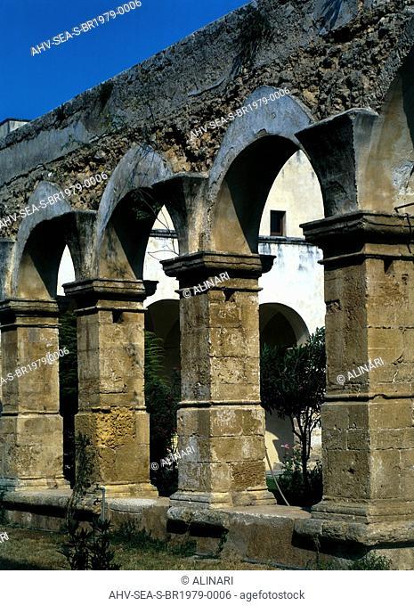 Colonnade in front of the Church of Santa Maria del Casale, Brindisi (XIII century), shot 1979 by CPF Studio, Studio fotografico