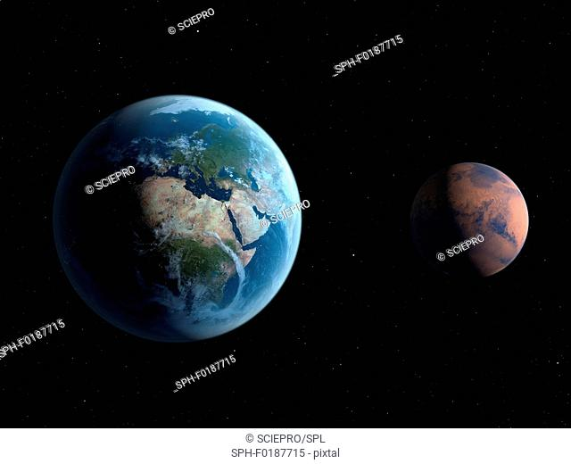 Two planets, illustration