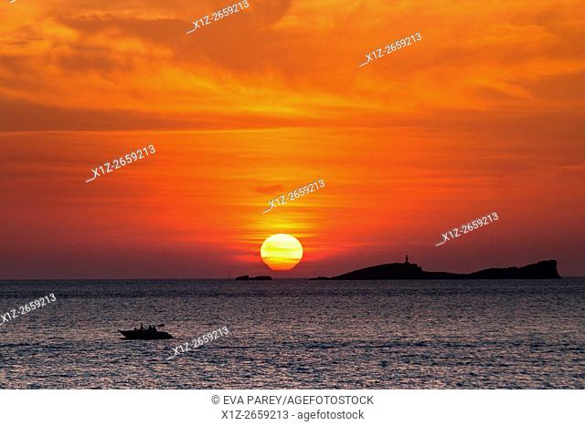 Fishing in Es Freus, in front of Illetas. Formentera (Balearic Islands)