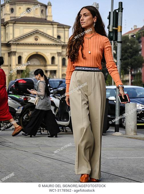 MILAN, Italy- September 19 2018: Erika Boldrin on the street during the Milan Fashion Week