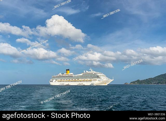 Phuket, Thailand View of the cruise ship Costa Fortuna anchored in the Patong Bay, on the western shore of Phuket Island, Thailand, Andaman sea