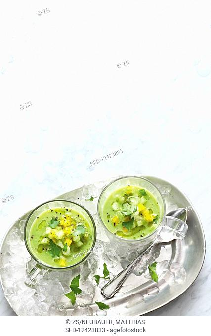 Green gazpacho with diced vegetables
