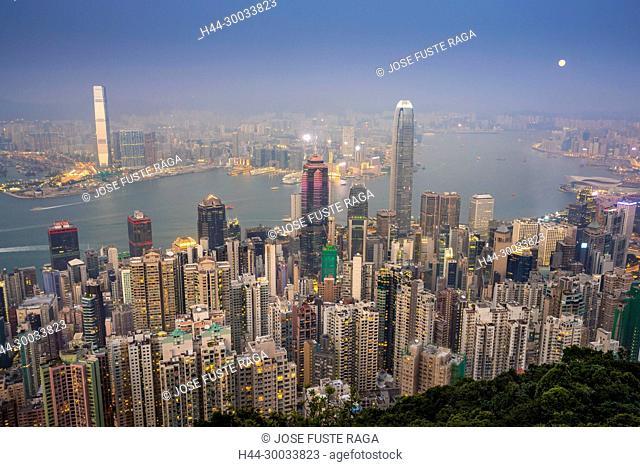 Hong Kong City, Victoria Island and Kowloon form Victoria Peak at sunset
