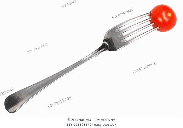 dinning fork with impaled cherry tomato