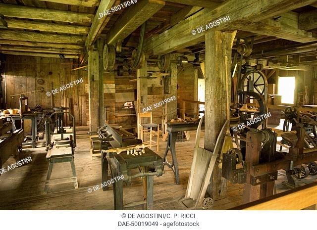 Carpenter's workshop, Hancock Shaker Village Museum near Pittsfield, Massachusetts, United States