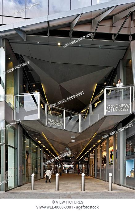 One New Change, London, United Kingdom. Architect: Jean Nouvel, 2010. Watling Street entrance to shopping mall