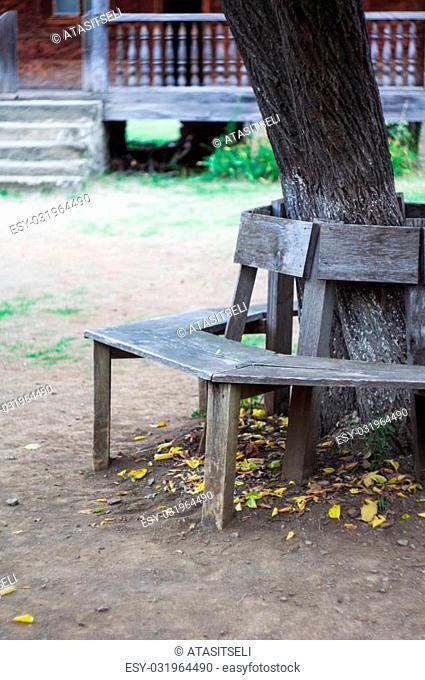 Old wooden bench in autumnal rural landscape