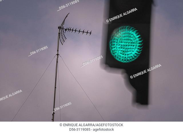 TV antenna and Traffic lights, Valencia, Spain