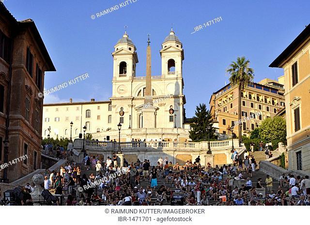 Trinita dei Monti basilica, Spanish Steps, Piazza di Spagna square, Rome, Lazio, Italy, Europe