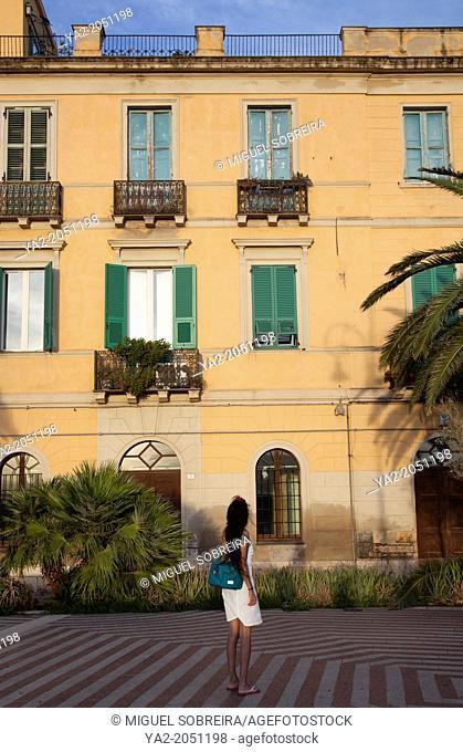 Via Santa Croce on Bastion di Santa Croce in Castello in Cagliari - Sardinia