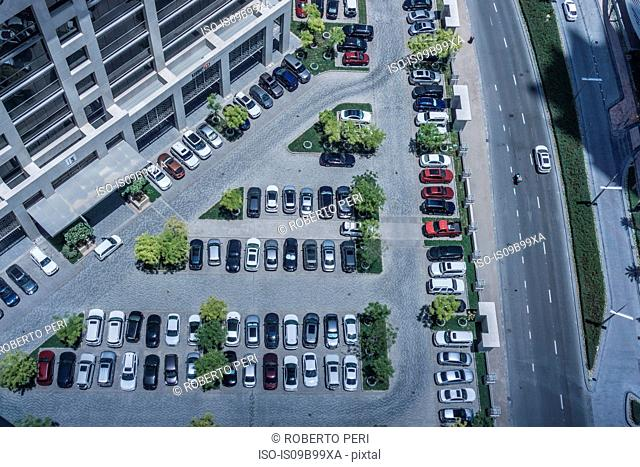 Aerial view of parking lot and highway, Dubai, United Arab Emirates