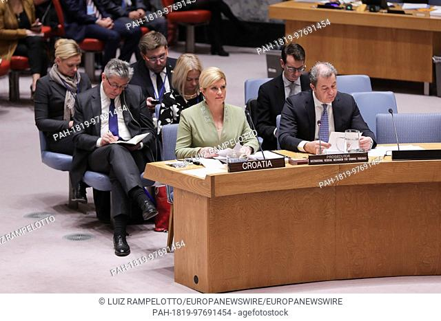 United Nations, New York, USA, December 06 2017 - Kolinda Grabar Kitarovic, President of the Republic of Croatia During a Security Council Meeting on the...
