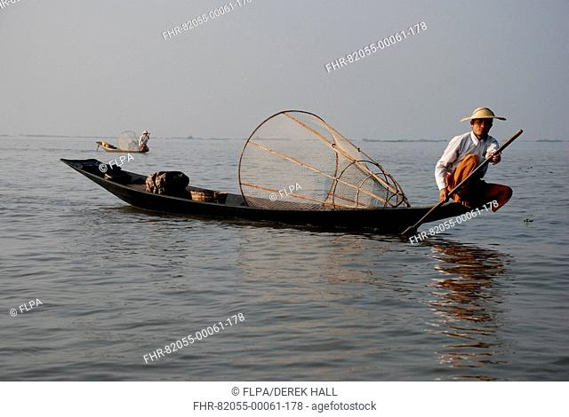Traditional fishermen with fish traps in boats, Inle Lake, Shan State, Myanmar, January