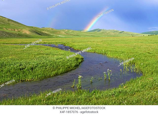 Mongolia, Khentii province, river and rainbow