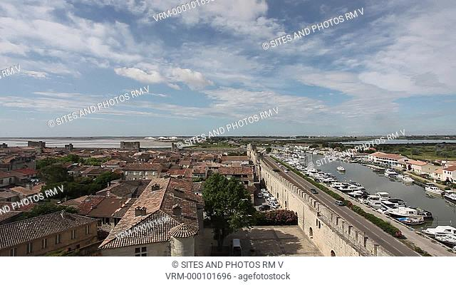 Locked Down Shot, daylight. View from the castle of the Rhone-a-Sete Canal. The canal connects the Etang de Thau in Sete to the Rhone River in Beaucaire, Gard