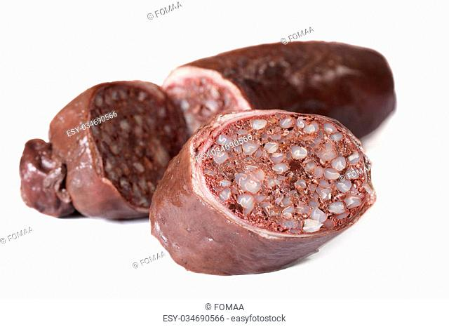 Delicious blood sausages isolated on a white background. horizontal