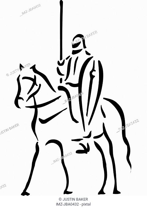 A black and white picture of a knight on a horse