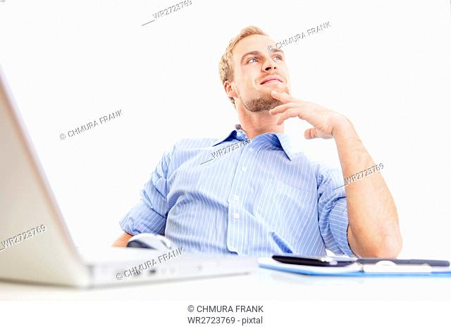 adult, blond, business, businessman, Caucasian, computer, corporate, daydream, daydreaming, desk, dream, expression, guy, handsome, happy, idea, imagination