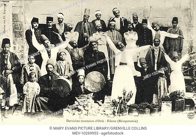 Whirling Dervishes with instruments, a sheikh, children and men in uniform at Urfa (Orfa), Turkey (formerly Edessa, Mesopotamia - the birthplace of Abraham)