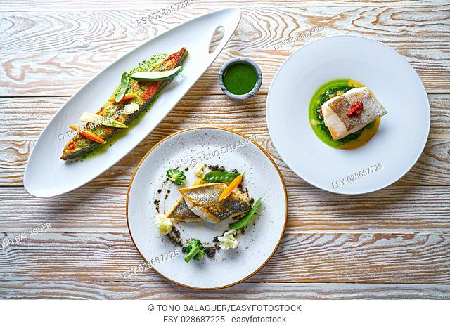 Fish food recipes grilled Turbot Seabass Sea Bass and baked Hake