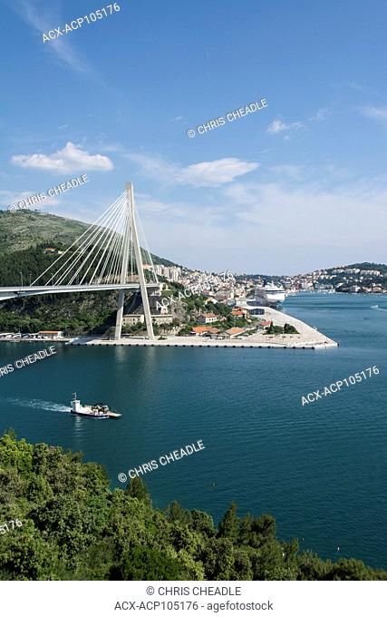 Franjo Tudman Bridge, a cable-stayed bridge carrying the D8 state road at the western approach to Dubrovnik, Croatia across Rijeka Dubrovacka near Port of Gruž