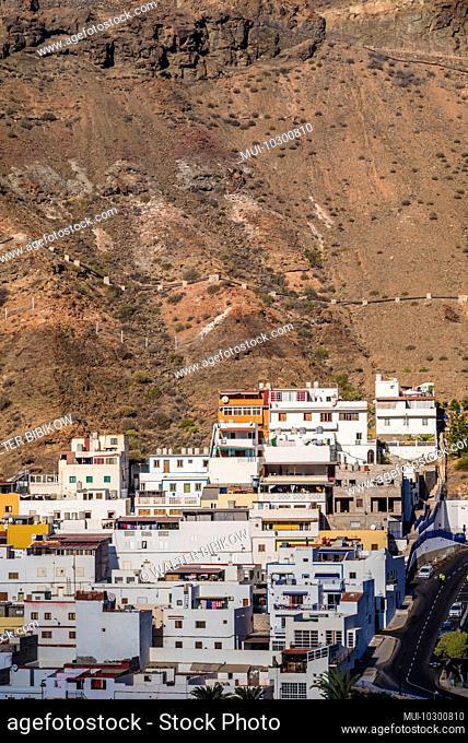 Spain, Canary Islands, Gran Canaria Island, Puerto de Mogan, beach resort town high angle view