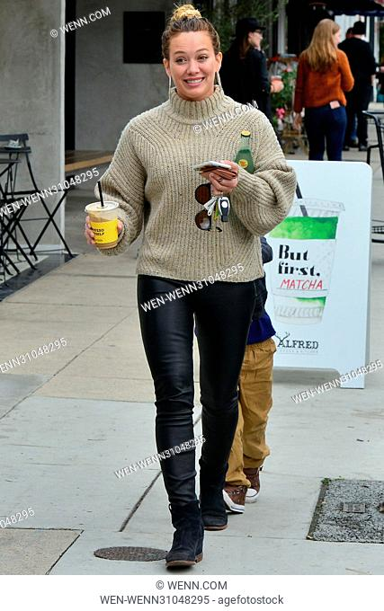 Hilary Duff visits a cafe with her son Luca Featuring: Hilary Duff Where: Los Angeles, California, United States When: 21 Feb 2017 Credit: WENN.com
