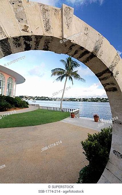 View of harbor through a moon gate, Hamilton Harbor, Hamilton, Bermuda