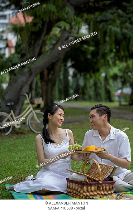 Singapore, Couple having picnic in park