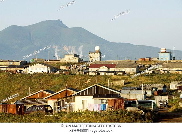 View over town of Yuzhno Kurilsk on Kunashir Island in the Kuril Island chain in far east of Russia